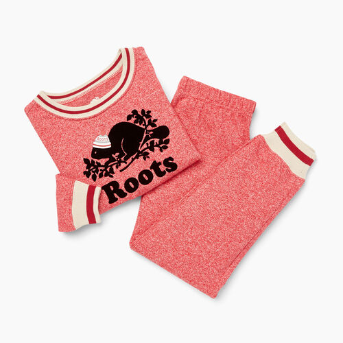 Roots-Gifts Buddy The Beaver-Toddler Buddy PJ Set-Cabin Red Pepper-A