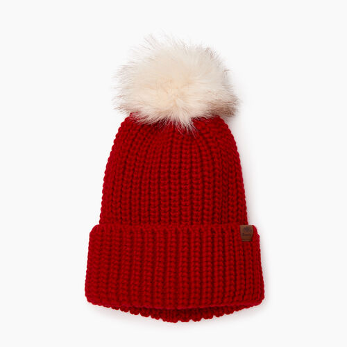 Roots-Women Categories-Olivia Fur Pom Pom Toque-Cabin Red-A