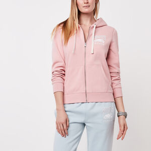 Roots-Women Tops-Classic Full Zip Hoody-Silver Pink-A
