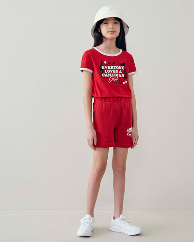 Roots-Kids Canada Collection-Girls Canadian Girl T-shirt-Sage Red-A