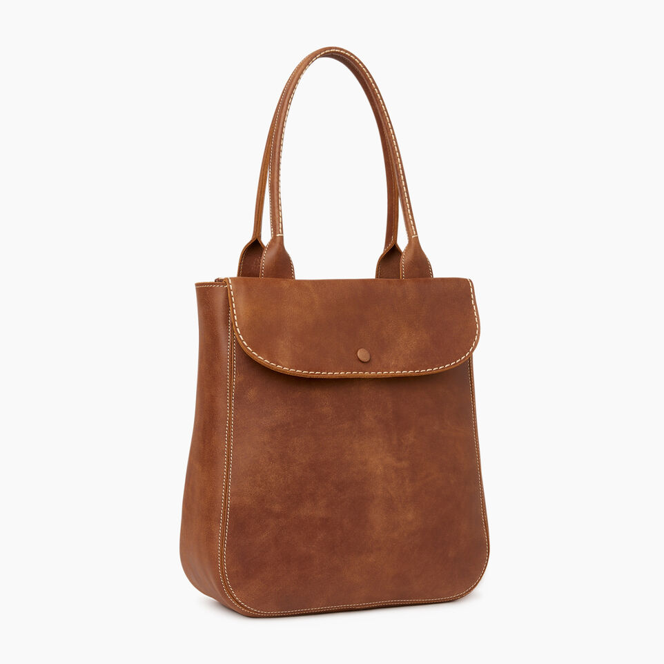 Roots-Leather Our Favourite New Arrivals-Tall Riverdale Tote-Natural-A