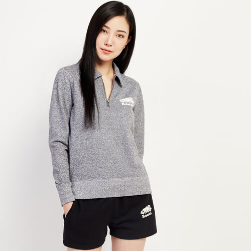 Roots-Women New Arrivals-Original Zip Polo-Salt & Pepper-A