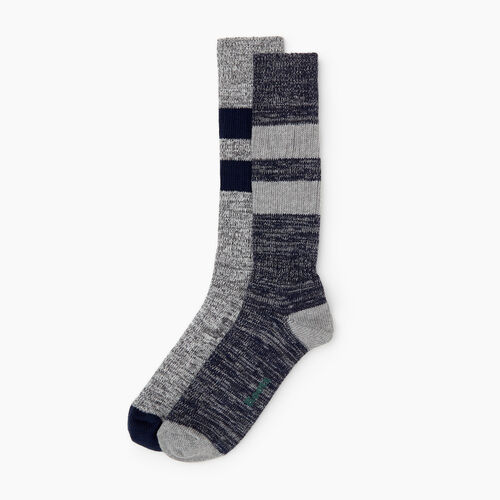 Roots-Men Socks-Camp Sock 2 Pack-Navy-A