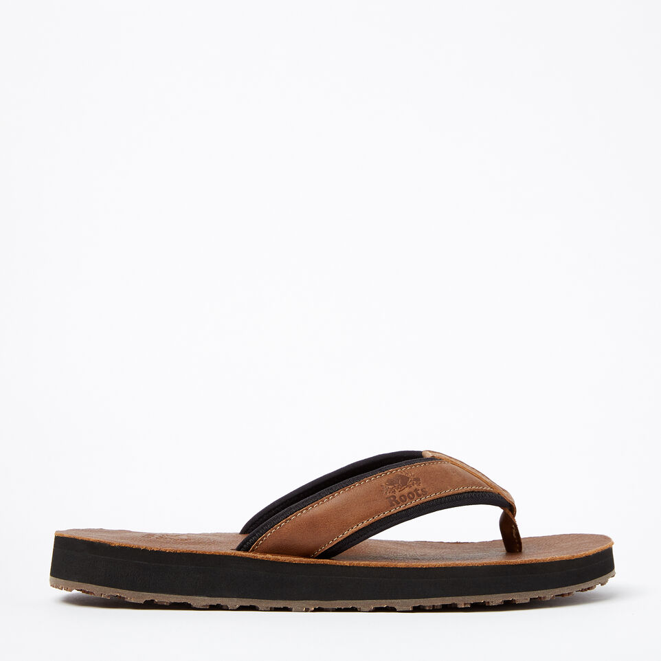 Roots-Mens Tofino Flip Flop Leather