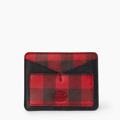 Roots-Leather Park Plaid Leather-Park Plaid Passport Card Holder-Cabin Red-A