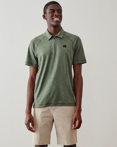Roots-New For This Month Journey Collection-Journey Zip Polo-Washed Olive Mix-A