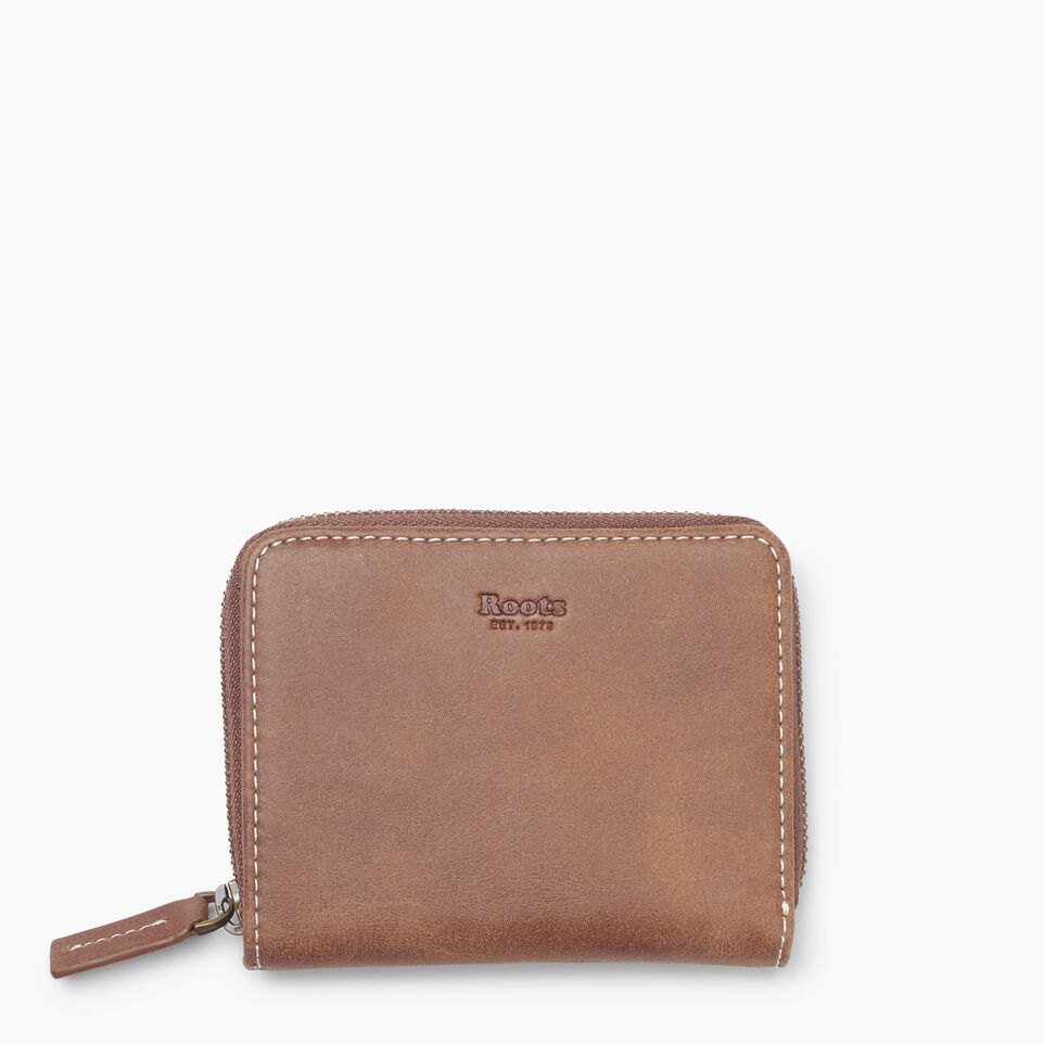 Roots-Leather Tribe Leather-Small Zip Wallet Tribe-Natural-A
