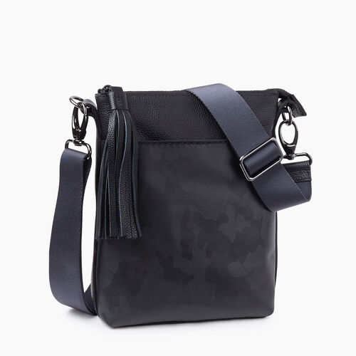 Roots-Women Leather-Camo Crossbody-Black Camo-A