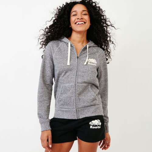 Roots-Women Collections-Roots Salt and Pepper Original Full Zip Hoody-Salt & Pepper-A