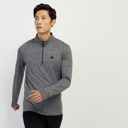 Roots-Men Long Sleeve Tops-Roots Journey Zip Stein-Charcoal Pepper-A