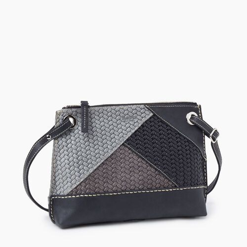 Roots-Women Crossbody-Edie Bag Patchwork-Charcoal-A
