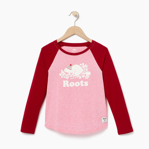 Roots-Winter Sale Kids-Girls Buddy Raglan T-shirt-Cabin Red-A