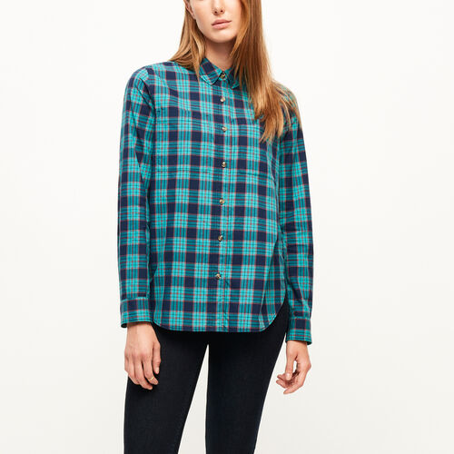 Roots-Clearance Women-Brookside Poplin Shirt-Peacock Green-A