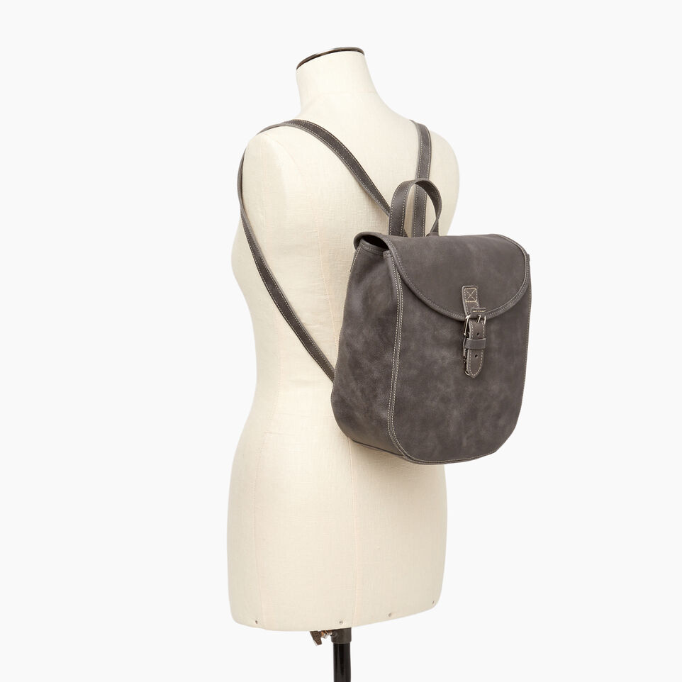 Roots-Leather New Arrivals-Little Nells Backpack-Charcoal-B