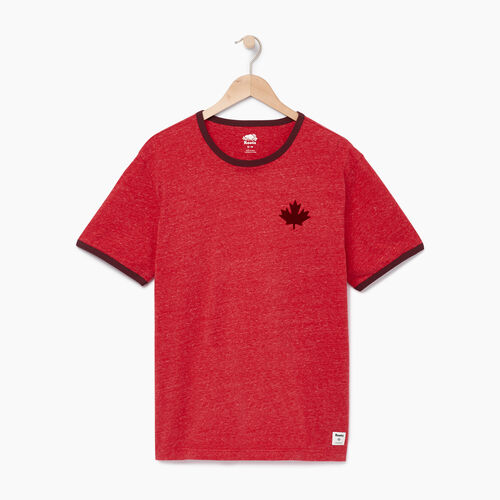 Roots-Men Graphic T-shirts-Mens Canada Cabin Ringer T-shirt-Sage Red Mix-A