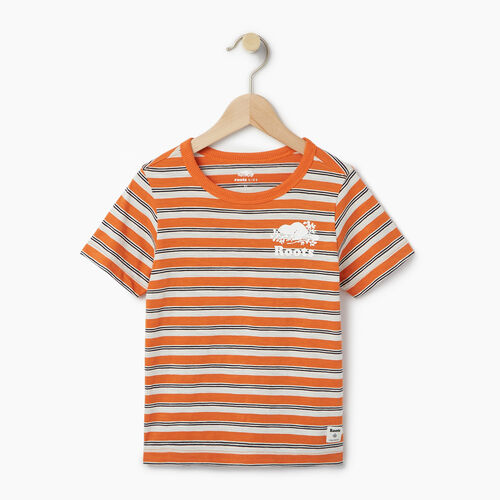 Roots-Clearance Kids-Toddler Cooper Stripe T-shirt-Jaffa Orange-A