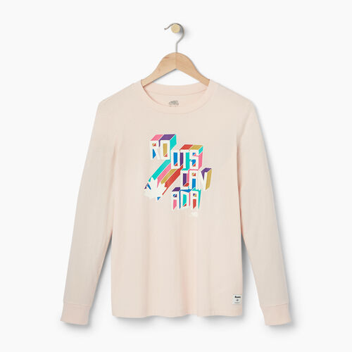 Roots-Women Our Favourite New Arrivals-Womens Multi- Colour Roots Long Sleeve T-shirt-Pink Cloud-A