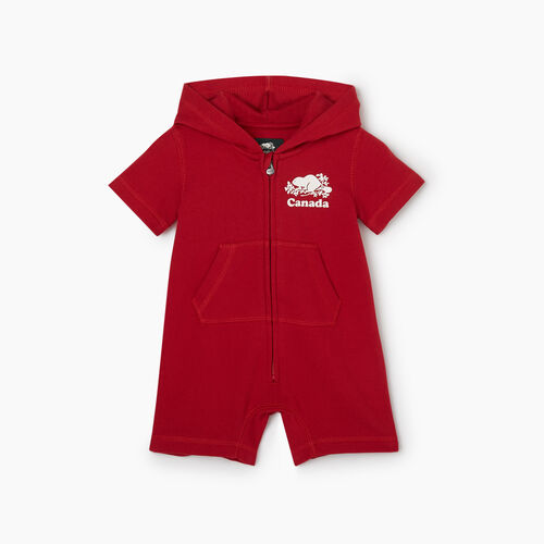 Roots-Kids Collections-Baby Canada Romper-Sage Red-A