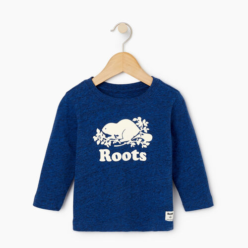 Roots-Kids Our Favourite New Arrivals-Baby Original Cooper Beaver T-shirt-Active Blue Pepper-A