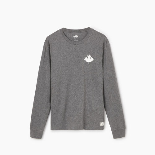 Roots-Clearance Tops-Mens Cooper Leaf Long Sleeve T-shirt-Med Grey Mix-A