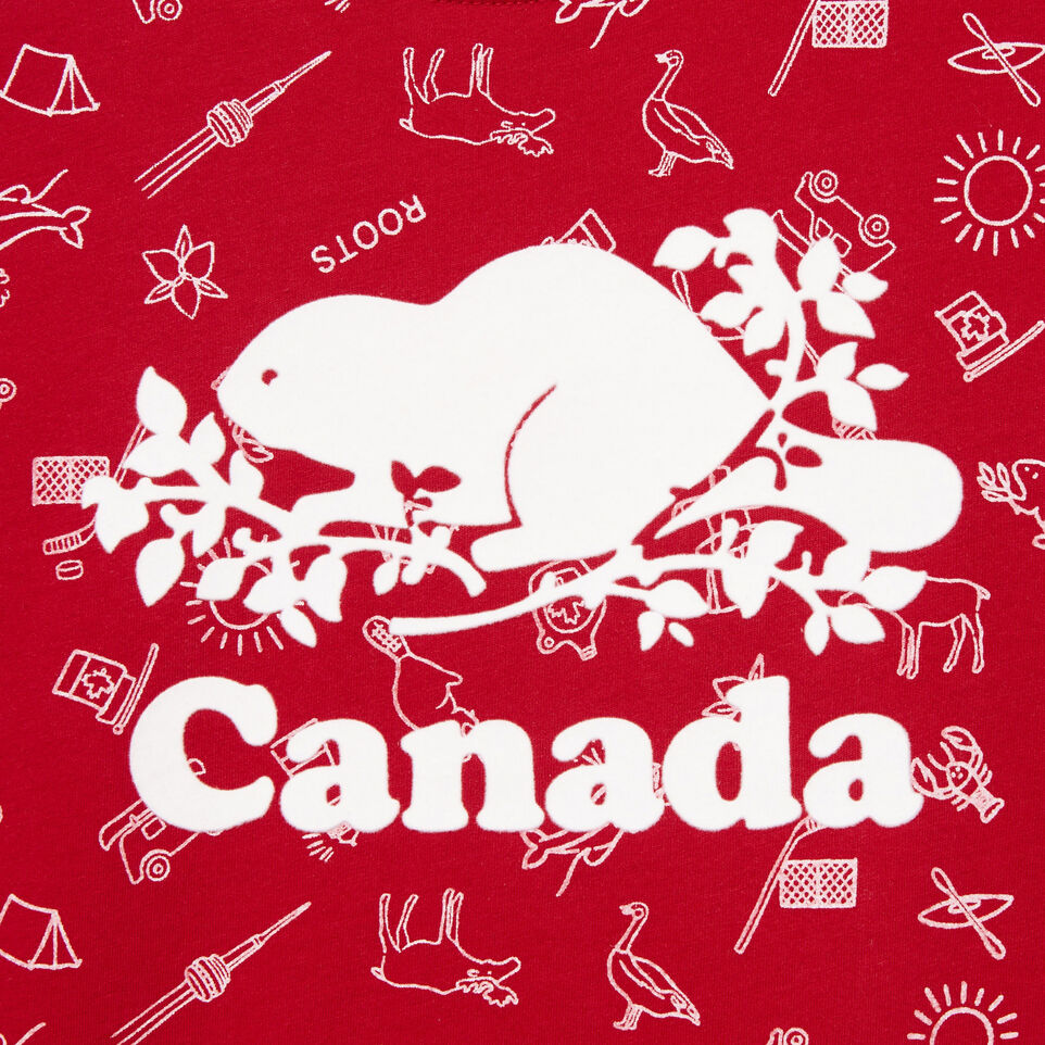 Roots-Kids Our Favourite New Arrivals-Girls Canada Aop T-shirt-Sage Red-D
