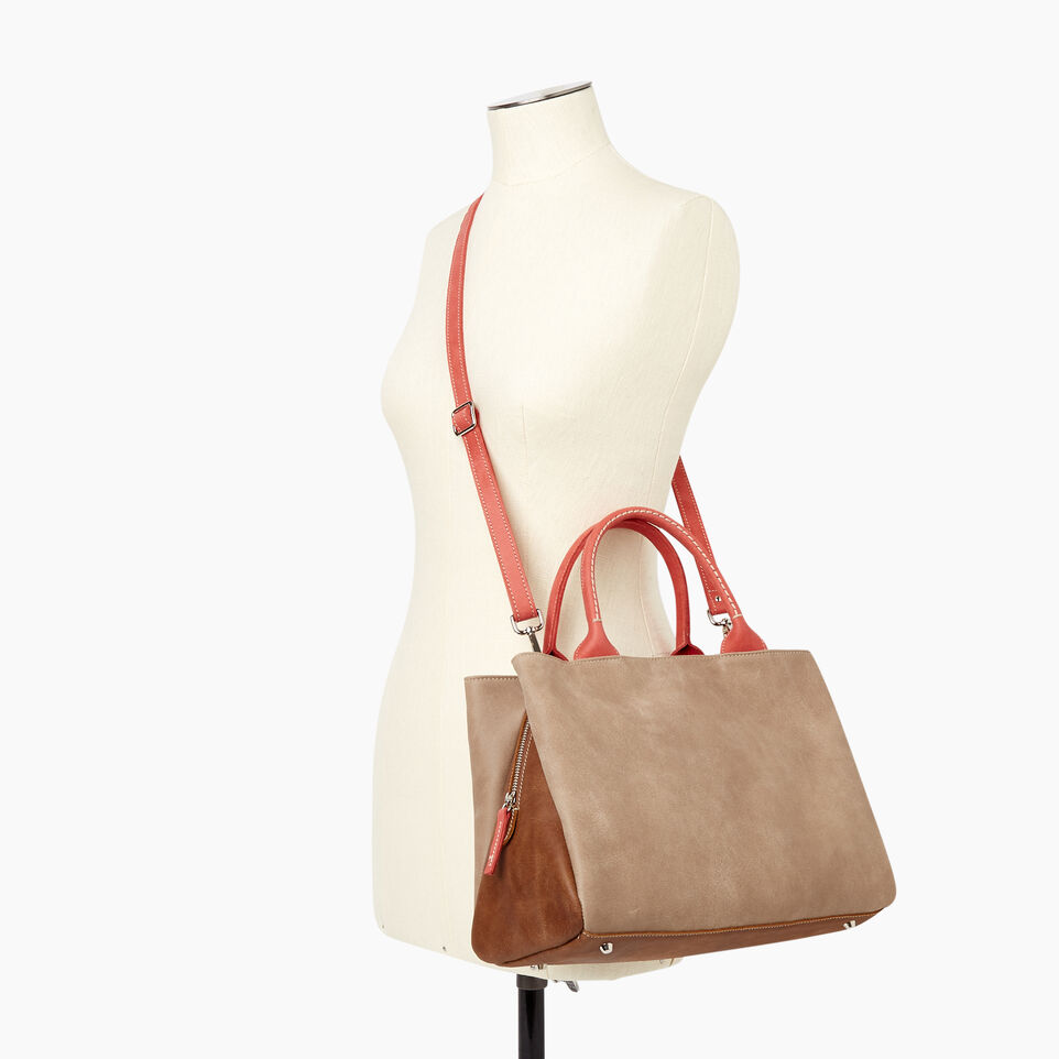 Roots-Leather  Handcrafted By Us Our Favourite New Arrivals-Mont Royal Bag - Colour Block-Coral-B
