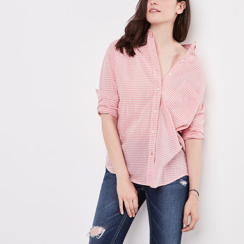 Roots-New For April Women-Arria Boyfriend Seersucker Shirt-Spiced Coral-A