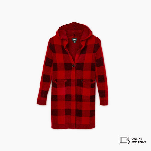 Roots-New For November Kids-Girls Park Plaid Cozy Cardigan-Cabin Red-A