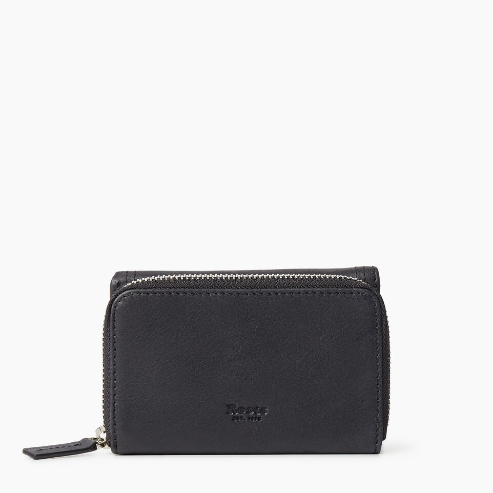 Roots-Leather Categories-Small Canmore Wallet Tribe-Jet Black-B