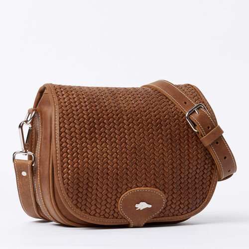 Roots-Women Crossbody-English Saddle Woven Tribe-Natural-A