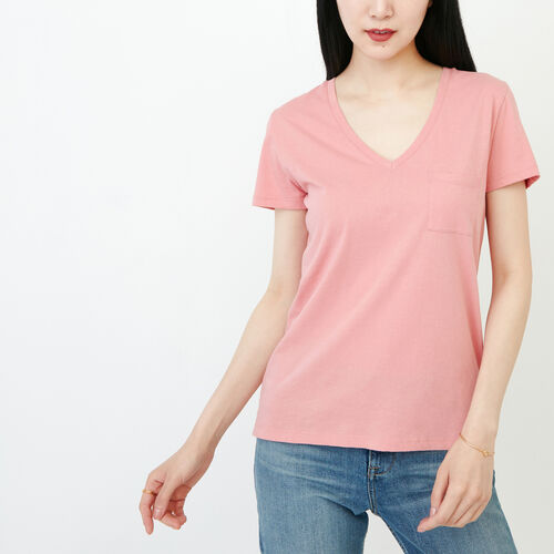 Roots-Clearance Tops-Essential V T-shirt-Sunset Apricot-A