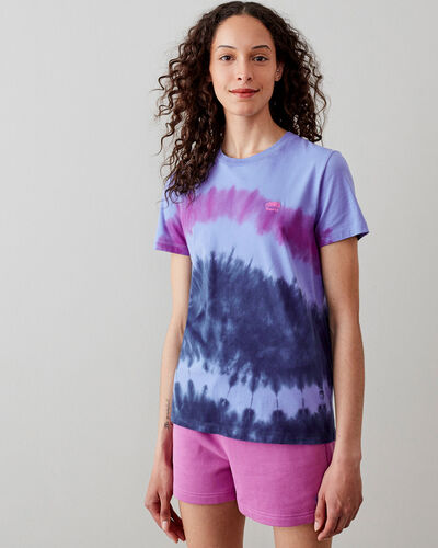 Roots-Women Graphic T-shirts-Womens Camp Tie Dye Tshirt-Wedgewood-A