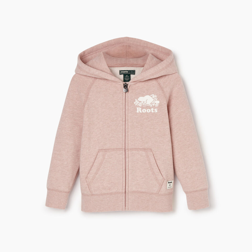 Roots-Kids Sweats-Toddler Original Full Zip Hoody-Deauville Mauve Mix-A