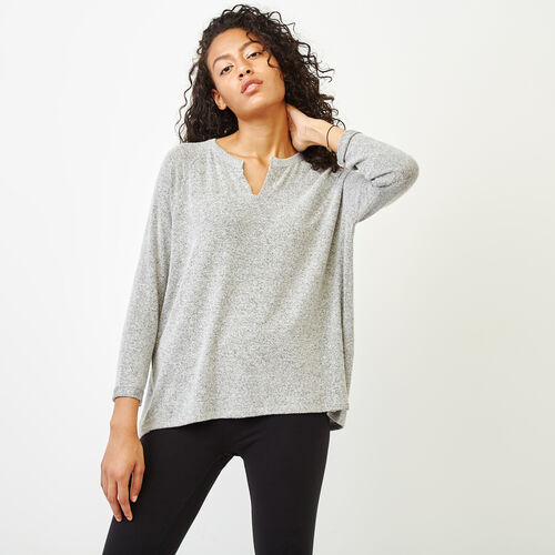 Roots-Women Long Sleeve Tops-Crawford Top-Grey Mix-A