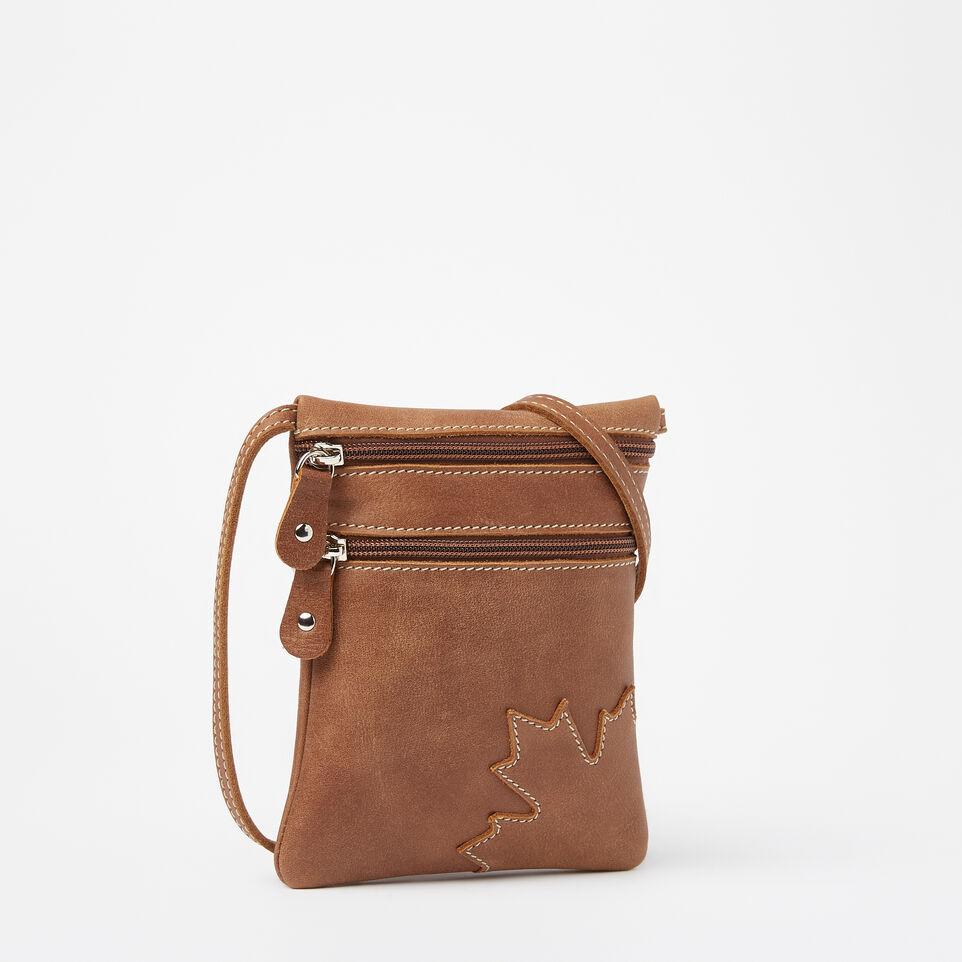 b3ff84211f5 Roots-Leather Mini Leather Handbags-Trans Canada Hanging Pouch Tribe-Natural -A ...