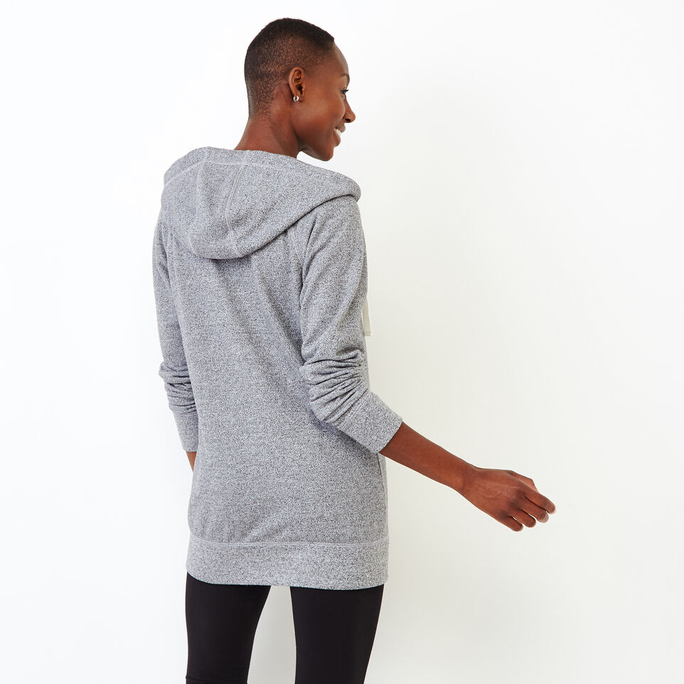 Roots-Women Sweats-Capri Full Zip Hoody-Salt & Pepper-D