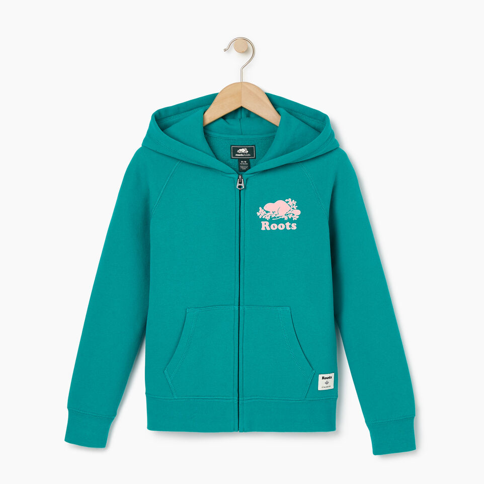 Roots-Kids New Arrivals-Girls Original Full Zip Hoody-Dynasty Turquoise-A