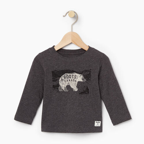 Roots-Winter Sale Baby-Baby Wilderness T-shirt-Charcoal Mix-A
