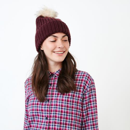 Roots-Women Our Favourite New Arrivals-Olivia Fur Pom Pom Toque-Cabernet-A