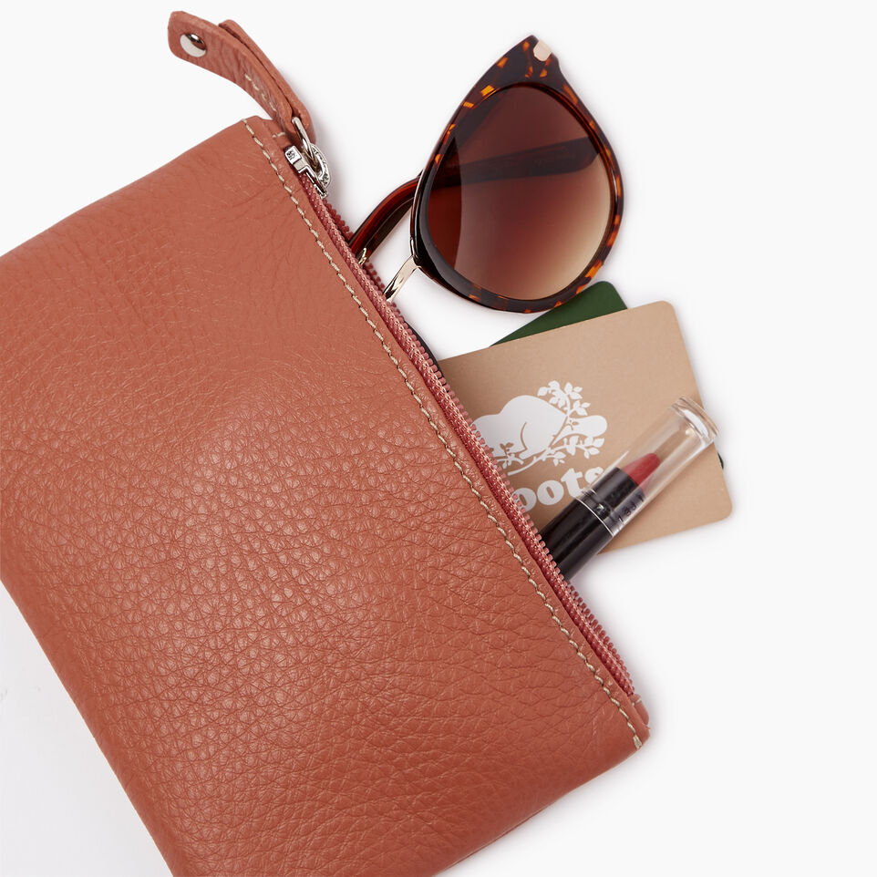 Roots-Leather  Handcrafted By Us Our Favourite New Arrivals-Medium Zip Pouch-Canyon Rose-B