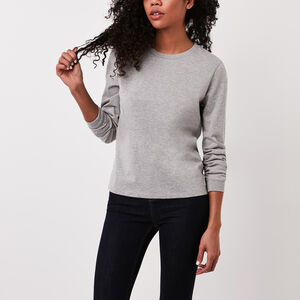 Roots-New For March Women-Kootenay Jersey Long Sleeve  T-shirt-Grey Mix-A