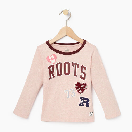 Roots-Winter Sale Toddler-Toddler Roots Patches T-shirt-Silver Pink Mix-A