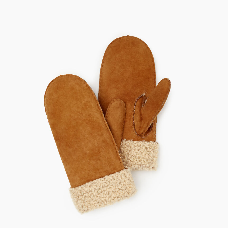 Roots-Leather New Arrivals-Womens Shearling Mitt-Tan-A