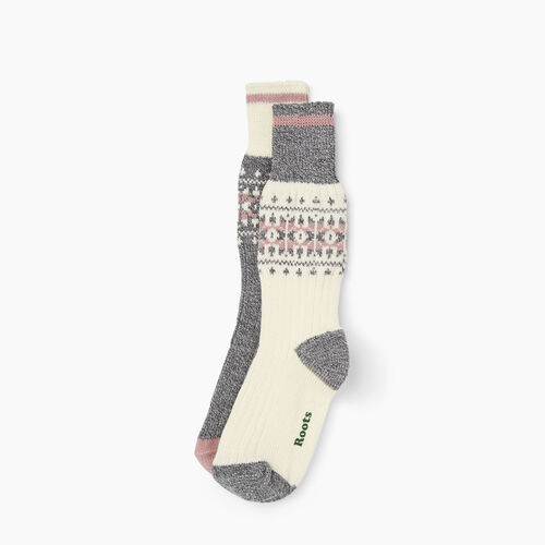 Roots-New For November The Roots Cabin Collection™-Roots Ashli Cabin Sock 2 Pack-Vintage White-A