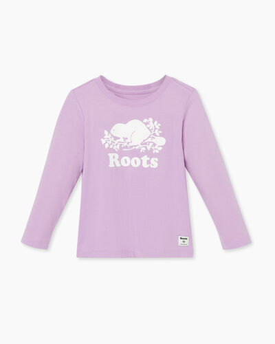 Roots-Kids Tops-Toddler Original Cooper Beaver T-shirt-Lupine-A