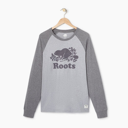 Roots-Men Our Favourite New Arrivals-Mens Cooper Raglan Long Sleeve  T-shirt-Quarry Mix-A