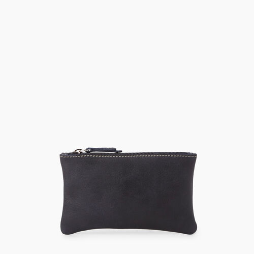 Roots-Leather  Handcrafted By Us Leather Accessories-Medium Zip Pouch Tribe-Dark Navy-A