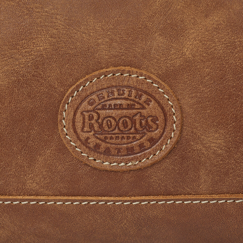 Roots-Leather Leather Accessories-Maple Leaf Zip Pouch-Natural-E