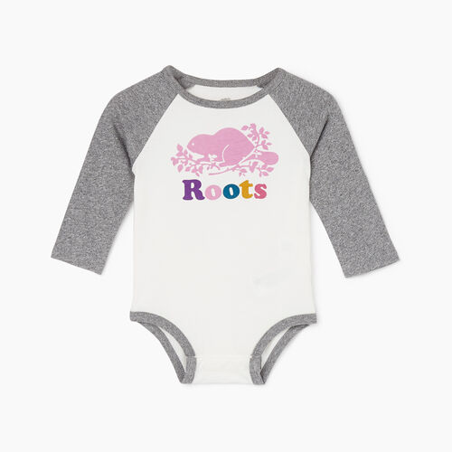 Roots-Kids Rompers & Onesies-Baby Cooper Baseball Bodysuit-Salt & Pepper-A