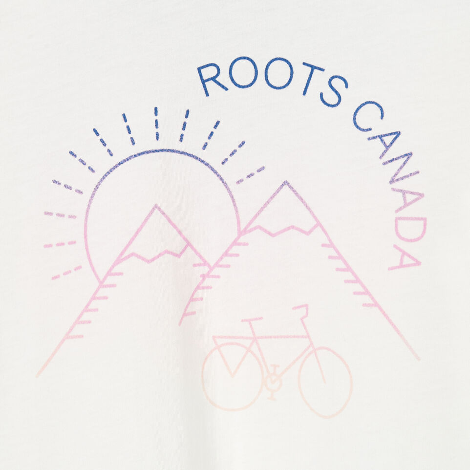 Roots-Kids New Arrivals-Girls Cycle T-shirt-Ivory-D
